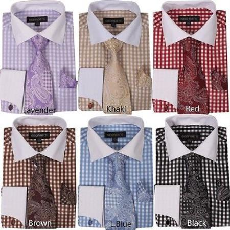 Checker French Cuff With Matching Cuff- Links Style White Collar Two Toned Contrast Multi-Color Mens Dress Shirt With Tie