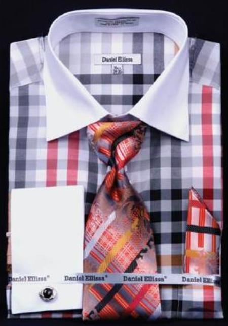 Buy AC-442 Checker Pattern Dress Fashion Shirt/ Tie / Hanky Set White Collar Two Toned Contrast Free Cufflinks Black / White
