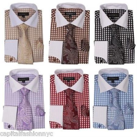 Checker Style French Cuff Links White Collar Two Toned Contrast Matching Tie Multi-color Men's Dress Shirt