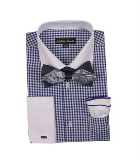 Mens Checks Shirt French Cuff With White Collared Contrast  High Fashion Bowtie And Handkerchief Navy White Collar Two Toned Contrast