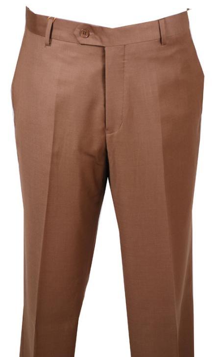 SKU#KA345 Dress Pants Chestnut without pleat flat front Pants