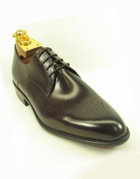Chestnut Mens Lace Up Style Fashionable Carrucci Leather Shoes