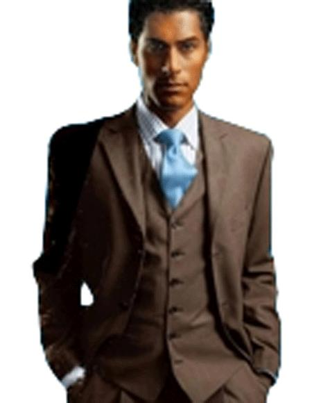 Elegant Men's Chocolate Dark Brown 3 ~ Three Piece Cheap Priced Business Suits Clearance Sale Available in 2 or 3 Buttons Style Regu