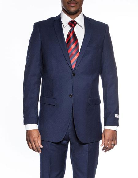 Mens classic blue extra slim fit wedding prom skinny suit