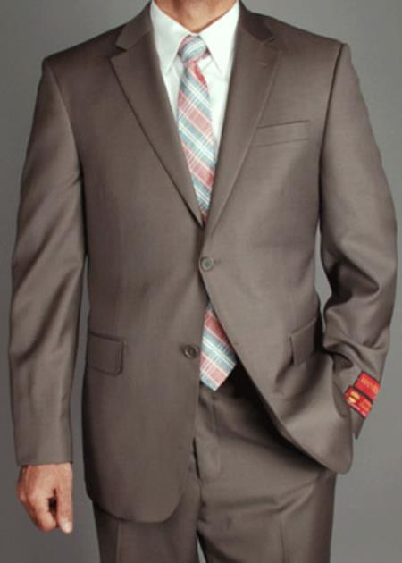 Men's Mantoni US classic Walnut Taupe Suit- High End Suits - High Quality Suits