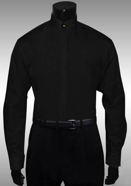 Black Cross Clergy Collarless Cross Placket Men's Dress Shirt