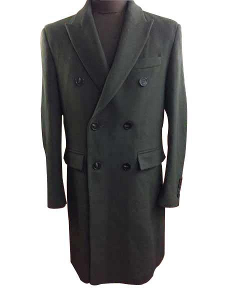 Alberto Nardoni Authentic Mens Dress Coat Olive Double Breasted Peak Lapel 6 Buttons Wool Over Winter Mens Topcoat Sale