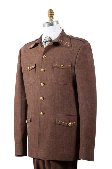 Men's Naval Style High Collar Brass Point Collar Zoot Suit Coffee
