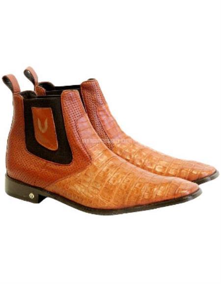 Men's Handcrafted Cognac Vestigium Genuine Caiman Belly Chelsea Boots
