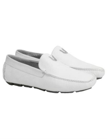 SKU#SS-2647 Mens White Vestigium Genuine Catshark Loafers