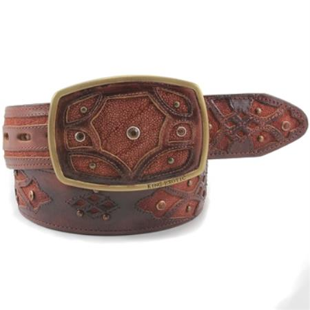 Exotic Cognac Belt Genuine
