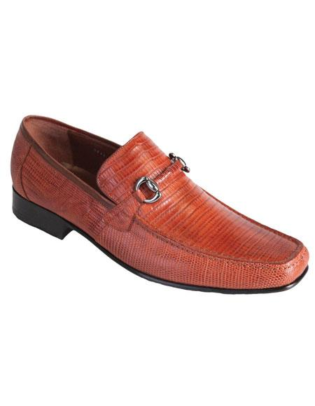 Buy AP203 Men's Cognac Casual Slip Loafer Genuine Lizard Los Altos Dress Shoes