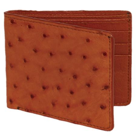 Mens Genuine Exotic Animal Skin Carteras Avestruz Mens Wallet – Cognac