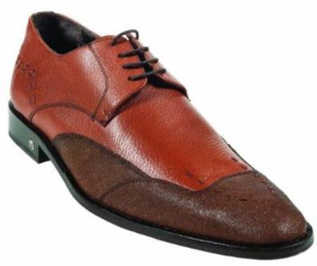 Mens CatShark Skin Cognac Dress Shoe
