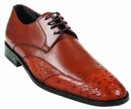 Mens Ostrich Full Quill Skin Cognac Dress Shoe
