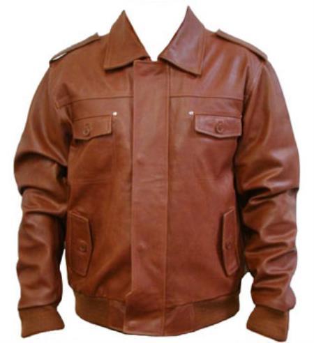 Epaulets Leather Bomber Jacket
