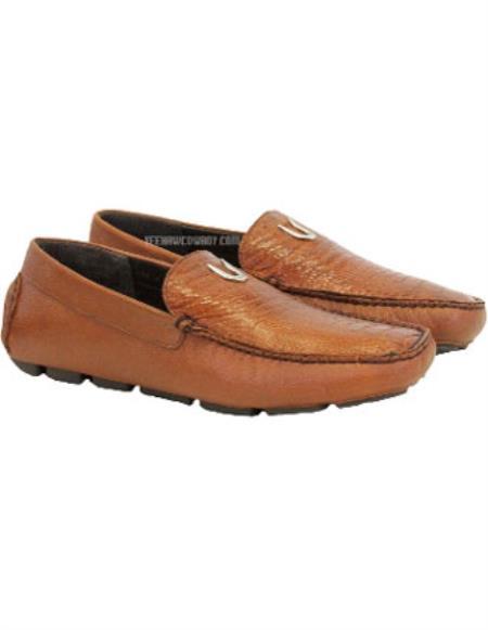 Mens Cognac Handcrafted Cognac Vestigium Genuine Ostrich Leg Loafers