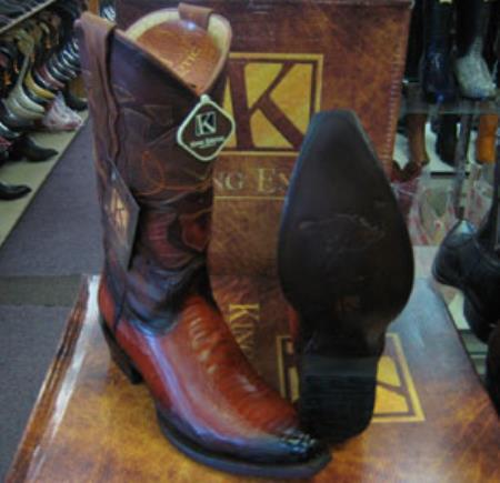Buy MK942 Mens King Exotic Genunie Ostrich Leg Cognac Snip Toe Western Cowboy Boot