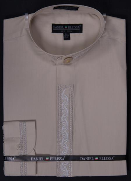 SKU#BGE44 Men's Banded Collar Dress dress shirts Mandarin Collarless - Wave Print Embroidery Beige