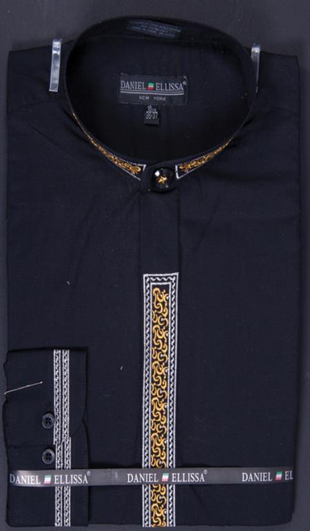 SKU#JNC57 Mens Banded Collar Embroidered dress shirts Mandarin Collarless - Fancy Stitching Black