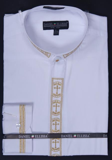 SKU#WQP99 Mens Banded Collar Clergy dress shirts Mandarin Collarless - Cross Embroidery White