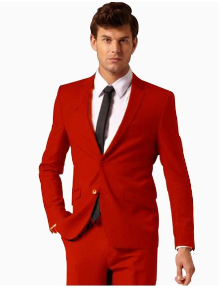 Men's Colorful 2 Button Style Cheap Priced Business Suits Clearance Sale Pants Free Matching bowtie Red ( Regular Cut or Slim Cut)