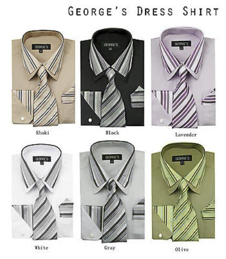 Classic Set w/ Tie And Handkerchief -Striped Collar Mens Dress Shirt