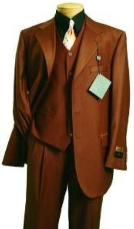Mens Fashion three piece 2 button suit in Super 150s Luxurious Wool Feel Copper~Rust~Cognac