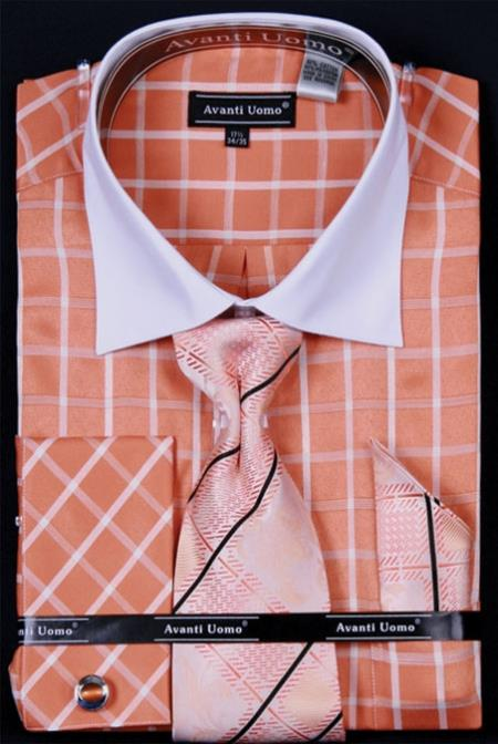 Mens white french cuff dress shirt set collar two toned c for Mens dress shirts with different colored cuffs and collars