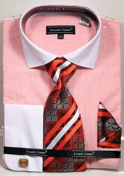 Men's Salmon ~ Coral color Textured Pattern French Cuff 100% Cotton Fashion Shirt with Tie & Hanky Set