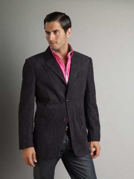 37750-Black Casual Sport Coat Mens Corduroy Fashion Jacket