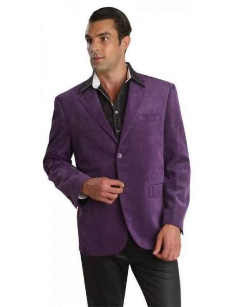 Sport coat 2 Buttons Cotton Regular Fit Men's Corduroy Purple Blazer Fashion Jacket