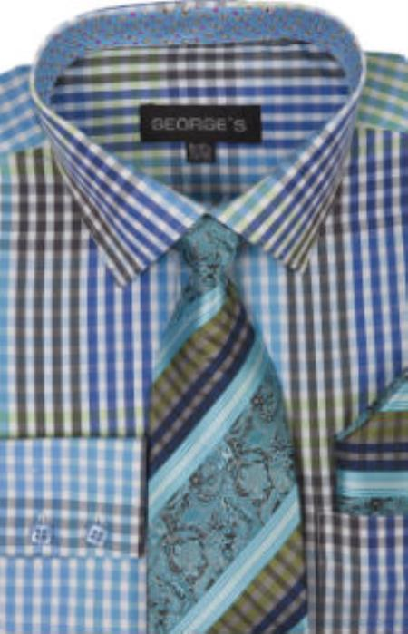 Georges 60% Cotton 40% Polyster Checkered Shirt Tie and Handkerchief Aqua Turquoise Color
