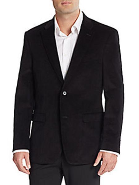 Mens Corduroy Blazer Cotton Regular Fit Black