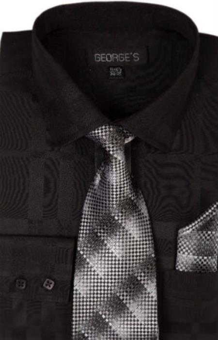 Men's Cotton Geometric Pattern Tie and Handkerchief Black Men's Dress Shirt