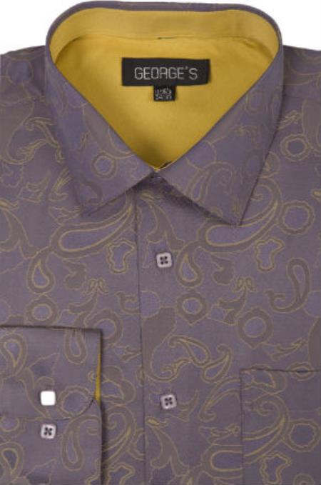 Gold-Brown Tailored to classic fit Dress Shirt