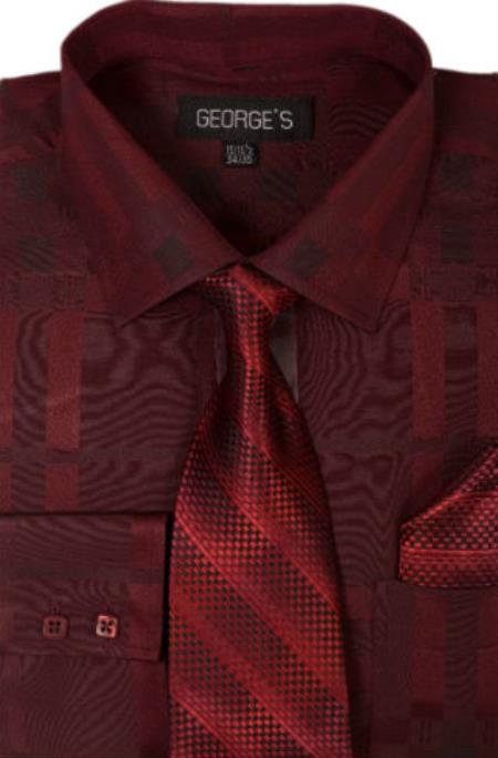 Mens cotton geometric pattern dress shirt with tie and ha for Wine colored mens dress shirts