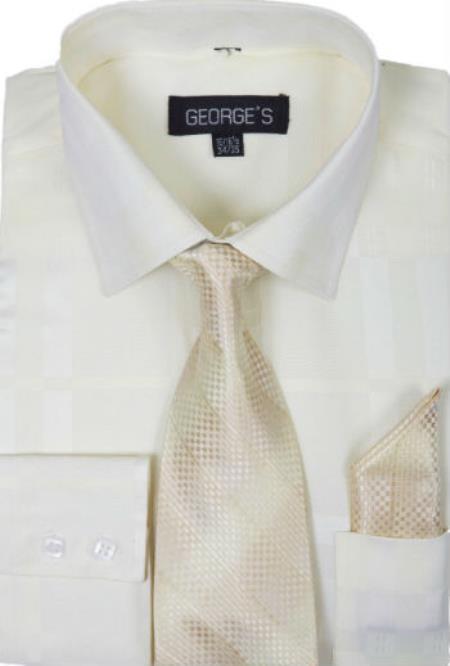 Cotton Geometric Pattern Dress Shirt with Tie and Handkerchief Cream Men's Dress Shirt