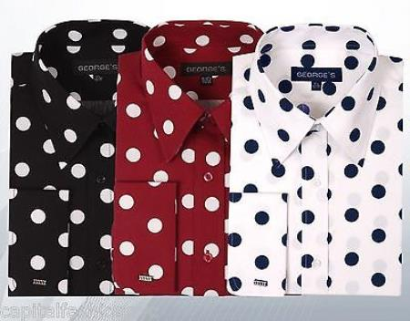 100% Cotton Dress Shirt Polka Dot Pattern Formal Or Casual Multi-color Men's Dress Shirt