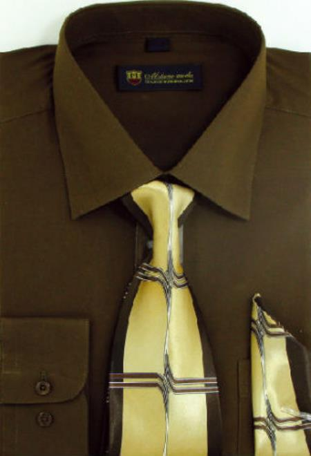 Milano Moda Classic Cotton Dress Shirt with Ties and Handkerchiefs Brown