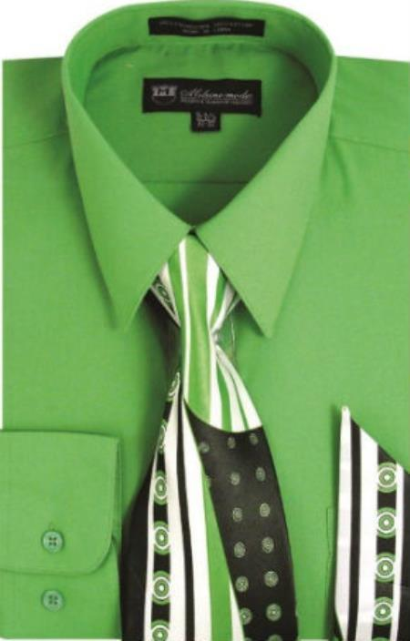 Milano Moda Classic Cotton Dress Shirt with Ties and Handkerchiefs Apple Green