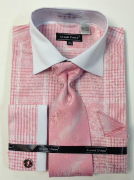 Buy MK801 Mens Avanti Uomo Cotton French Cuff Dress Shirt Set Pink White Collar Two Toned Contrast