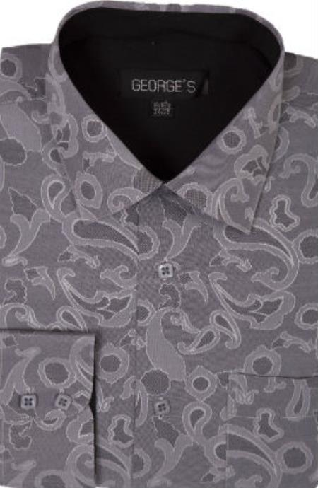 George 60% Cotton 40% Polyster Spread Collar Gray Mens Dress Shirt with
