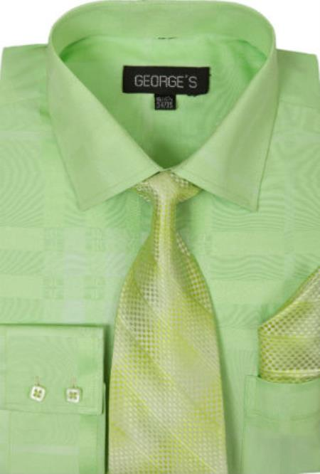 Men's Lime Cotton Point(Straight) Collar Geometric Pattern Dress Shirt
