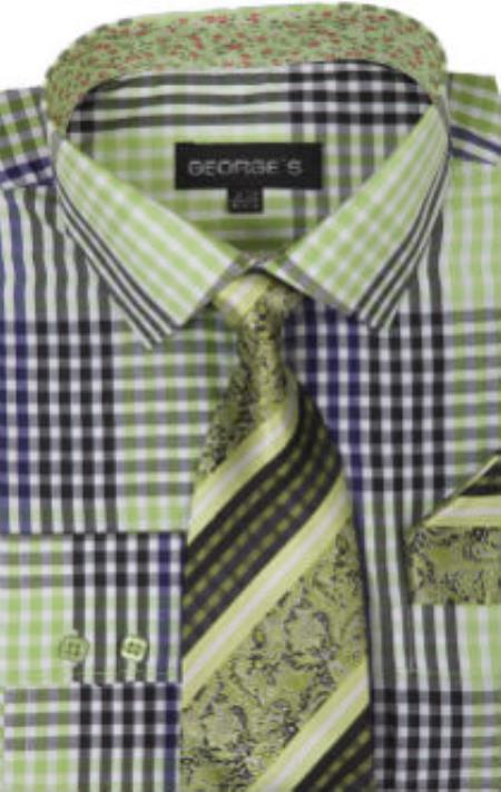 George's 60% Cotton 40% Polyster Checkered Shirt Tie and Handkerchief Lime