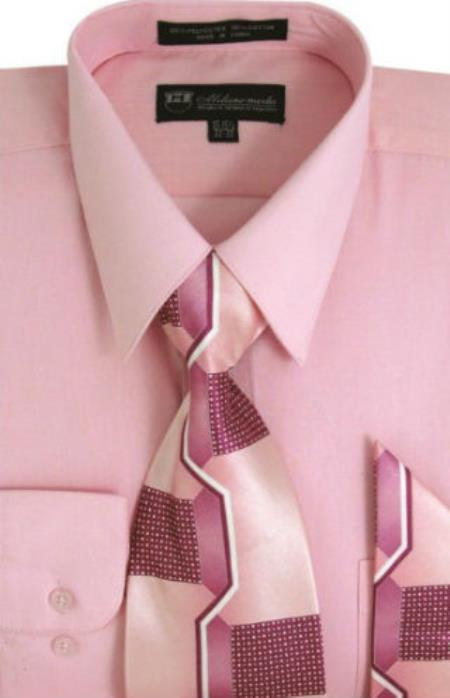 Pink Milano Cotton Shirt Moda Classic with Ties