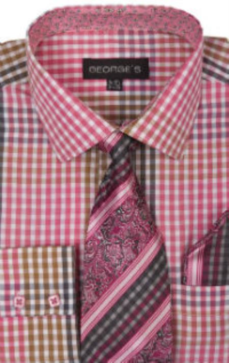 George's 60% Cotton 40% Polyster Checkered Shirt Tie and Handkerchief Fuchsin