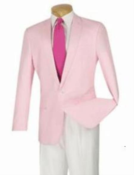 2-Button Summer Linen Modern Fit Sport coat Jacket Blazer Pink