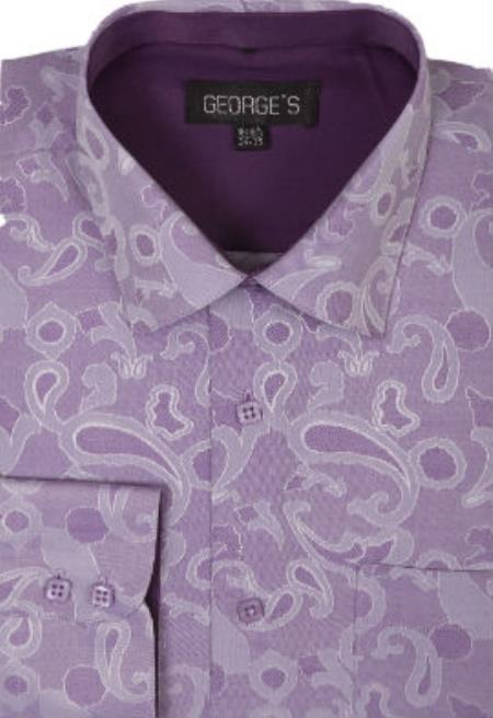 Polyster Spread Collar Dress Shirt Purple