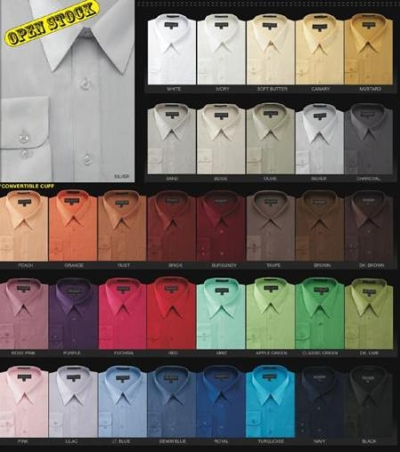 Men's Basic Normal 65%Poly 35%Cotton Dress Shirt in 34 Co